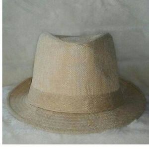 Tan Straw Fedora Hat